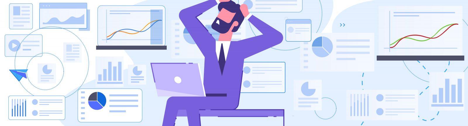 Ilustracja do tekstu o komunikacji wewnętrznej: mężczyzna siedzący przy komputerze i łapiący się za głowę